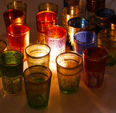 Colorful glasses for teaMiddle Eastern style. Colorful glasses illuminated from within, middle eastern artisanal manually painted Stock Photo