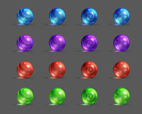 Colorful Glassy Magic Balls Set, Cartoon Fantasy Game Assets. Stock Photos