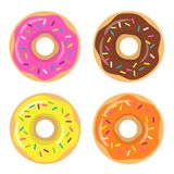 Colorful glazed donut set on white background. Chocolate, strawberry, lemon and orange donuts. The view from the top. Royalty Free Stock Images