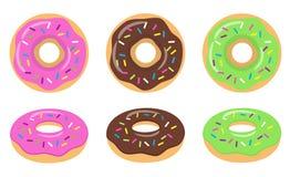 Colorful glazed donut set on white background. Strawberry, chocolate and green glazed donuts. Royalty Free Stock Image