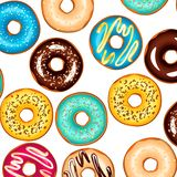 Colorful glazed donuts background. Vector illustration colorful Stock Photography