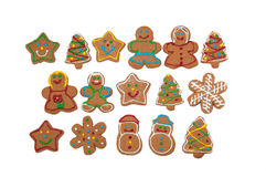 Colorful, glazed gingerbread Christmas cookies Royalty Free Stock Image