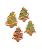 Colorful, glazed gingerbread trees on white Royalty Free Stock Images