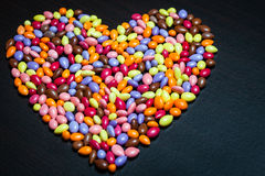Colorful Glazed Sunflower Seed Candies Heart Royalty Free Stock Images