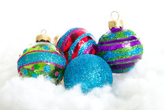 Colorful glitter Christmas balls Royalty Free Stock Images