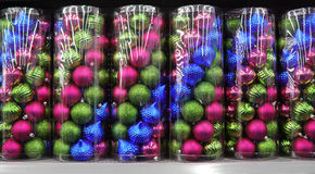 Colorful glitter Christmas balls Royalty Free Stock Photography
