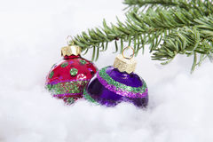 Colorful glitter Christmas balls over white background Royalty Free Stock Images