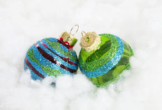 Colorful glitter Christmas balls over white background Royalty Free Stock Photography