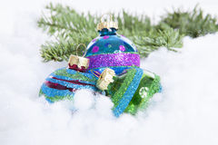 Colorful glitter Christmas balls over white background Royalty Free Stock Photos