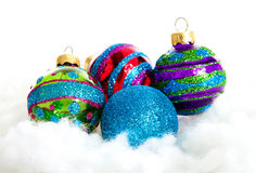 Colorful glitter Christmas balls Royalty Free Stock Image