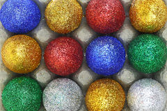 Colorful glitter eggs Royalty Free Stock Photos