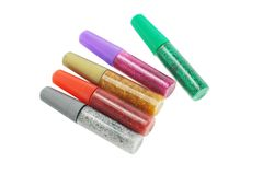 Colorful glitter glue Royalty Free Stock Images