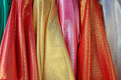 Colorful glitter silk fabric hanging Stock Images