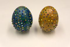 Colorful Glittered Easter Eggs in a Nest . Colorful Glittered Easter Eggs in a Nest Royalty Free Stock Photo