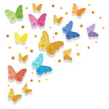 Colorful glittering butterflies vector illustration Royalty Free Stock Photos