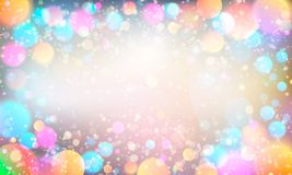 Colorful glittering light blots. Different colored glittering light stains on light background. Rasterized Copy Stock Image