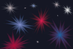 Colorful glittering stars or bursts Stock Photo