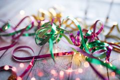 Colorful glittering streamers with light string Stock Images