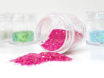 Colorful glitters for nail art Royalty Free Stock Photography