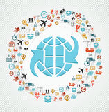 Colorful global concept shipping web icons composition. Royalty Free Stock Images