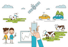 Colorful Global Positioning System Concept. With mobile laptop children holding phones cows dog cars satellite  vector illustration Royalty Free Stock Photos
