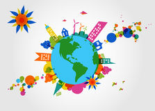 Colorful global transparent shapes and bubbles. Royalty Free Stock Images