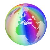 Colorful globe frame. Isolated on white background Stock Photos