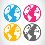 Colorful globe sticker set Royalty Free Stock Images