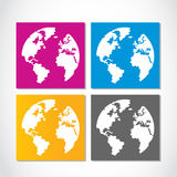 Colorful globe stickers set Royalty Free Stock Photos