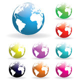 Colorful Globes. Image of various colorful earth globes isolated on a white background Royalty Free Stock Image
