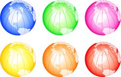 Colorful Globes. A set of six globes displaying the map of North America isolated on white Stock Photos