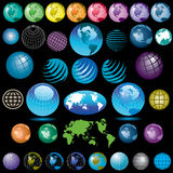 Colorful globes. Collection of 38 colorful globes of planet Earth Stock Photo