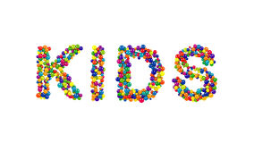 Colorful globes forming the word kids Stock Image