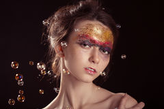 Colorful gloss makeup Stock Images