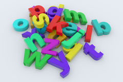 Colorful glossy 3D letters. On white surface Stock Photography