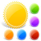 Colorful Glossy Badge shapes with blank space Royalty Free Stock Photo