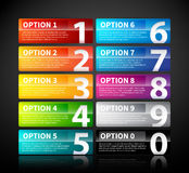 10 colorful glossy banners with numbers from zero to nine. EPS10 vector template Stock Photography