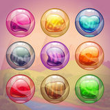 Colorful glossy bubbles with magic stones inside Royalty Free Stock Images
