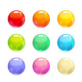 Colorful glossy bubbles set. Vector round elements for web or game design Stock Photography