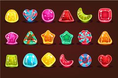 Colorful glossy candies, details for computers game, app interface vector Illustrations royalty free illustration