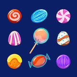Colorful Glossy Candies with Sparkles. Vector Royalty Free Stock Image