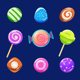 Colorful Glossy Candies with Sparkles. Vector Royalty Free Stock Photo