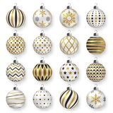 Colorful glossy christmas balls with shadows. Set of  realistic decorations. Colorful glossy christmas balls with shadow. Set of  realistic decorations. Vector Stock Image