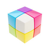 Colorful glossy copyspace cube made of smaller ones. Isolated on white vector illustration