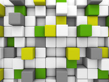 Colorful glossy cubes blocks wall background. 3d render illustration Stock Image
