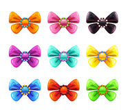 Colorful glossy decorative bows set. Royalty Free Stock Image