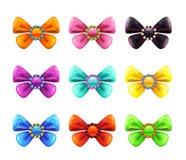Colorful glossy decorative bows set. royalty free illustration