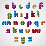 Colorful glossy geometric smooth comic font, bright lowercase le Stock Image