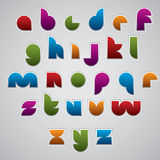 Colorful glossy geometric smooth comic font, rounded letters wit Royalty Free Stock Photos