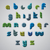 Colorful glossy geometric smooth comic font, rounded letters wit Stock Photo